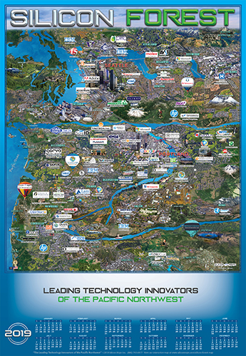 Oregon and Washington Technology map